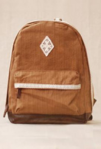 Telegram Romance Crochet Lace Trim Canvas Caramel Backpack