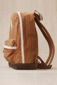 Backpack - Telegram Romance Crochet Lace Trim Canvas Caramel Backpack