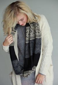 navy fair isle infinity scarf