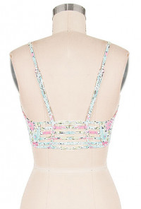 Top - Spring Festival Floral Print Bustier Crop Top in Mint/Pink