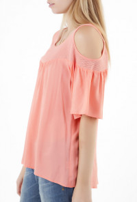 Top - Sweetest Thing Cold Shoulder 3/4 Bell Sleeve Top in Candy Pink