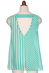 Top - Weekend Getaway Mixed Print Sleeveless Buttoned Top