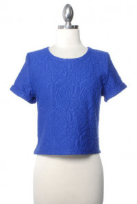 Top - Weekend Picnic Embossed Floral Short Sleeve Crop Top in Royal Blue