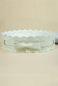 Touch of Spring Floral Laser Cut Lace Trim Bow Cummerbund Belt in Cream