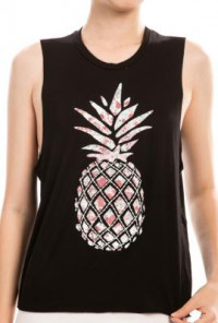 Tropical Summer Pineapple Graphic Muscle Tee in Black