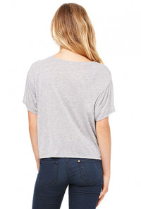 Unicorn Boxy Flowy Crop Tee in Heather Grey