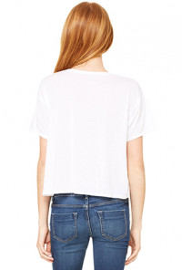 Unicorn Boxy Flowy Crop Tee in White