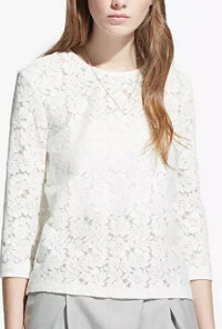 White Lace 3/4 Sleeve Top