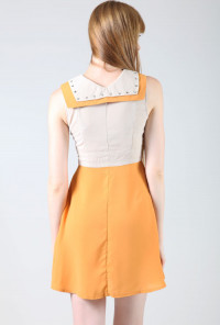Double Collar Studded Sleeveless Twofer Dress