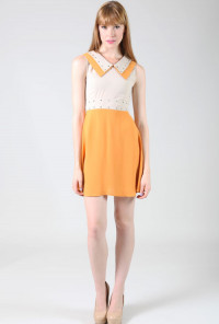 yellow Double Collar Studded Sleeveless Twofer Dress