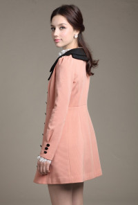 Vintage Pink Lapel Collar Coat