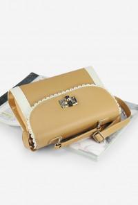 Vintage Scallop Lace Trim Tan Handbag