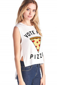 Vote for Pizza Muscle Tank in White