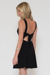 Lace Yoke Black Skater Dress