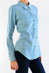 Lace Back Chambray Shirt