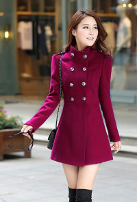 Wine Double Breasted Trench Coat