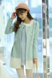Lace Trimmed Swing Mint Green Coat
