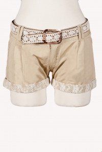 Lace Trimmed Beige Shorts