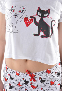 Cat graphic Matching Pajama Set