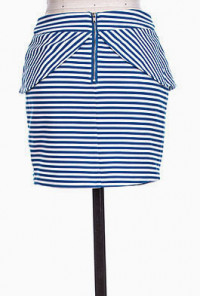 Tulip Peplum Striped Mini Skirt