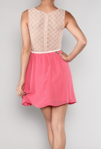 Belted Crochet & Chiffon Dress in Coral