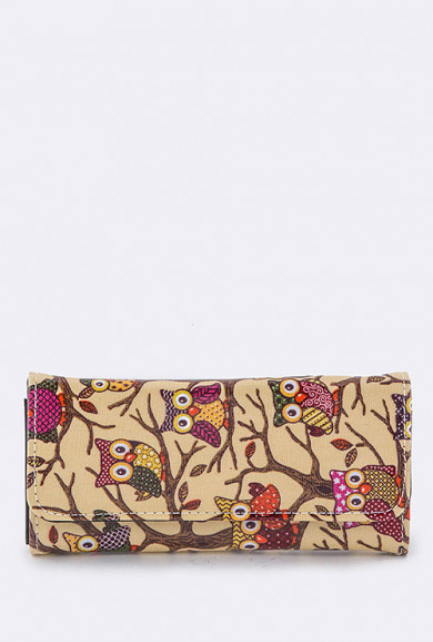 Wallet - Bird of Wisdom Owl Print Beige Wallet