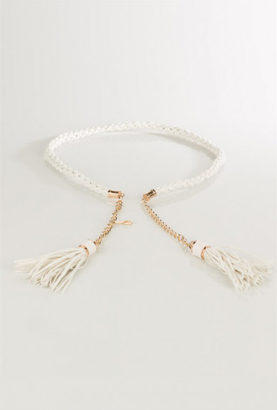 Belt - Curated Fixture Braided Belt with Chain and Tassels in Off White