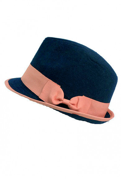 Hat - Popularity Contest Two Tone Felt Fedora Hat with Ribbon Bow Detail in Navy/Pink