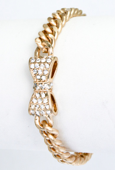 Bracelet - Friends Always Rhinestone Bow Toggle Bracelet in Mate Gold