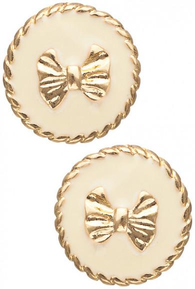 Earrings - Charm School Round Twist Trim Bow Stud Earrings in Ivory