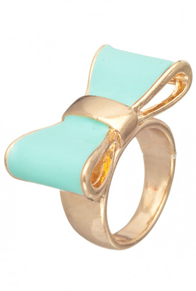 Rings - Cute Daily Lacquered Bow Ring in Mint
