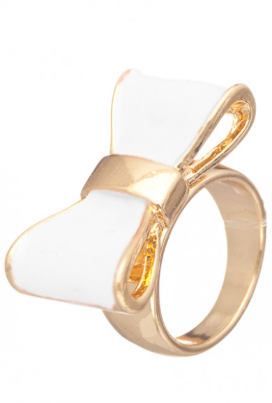 Rings - Cute Daily Lacquered Bow Ring in White