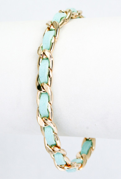 Bracelet - Supporting Role Braided Leather Chain Bracelet in Mint
