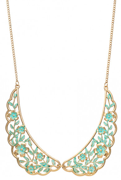 Necklace - Shabby Love Floral Filigree Vintage Collar Necklace in Mint