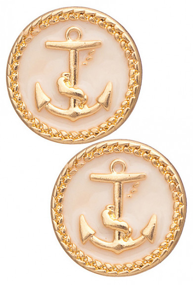 Earrings - Ship Ahoy Round Anchor Pendant Earrings in Ivory