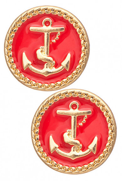 Earrings - Ship Ahoy Round Anchor Pendant Earrings in Red