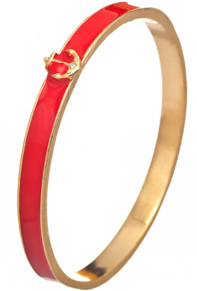 Bracelet - Nautical Navigation Anchor Embellished Bangle Bracelet in Red