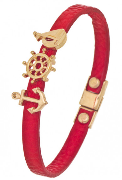 Bracelet - Set Sail Nautical Charm Leather Bracelet in Red