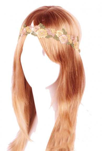 Head Piece - Forest Nymph Embroidered Floral Patch Headband in Green/Yellow