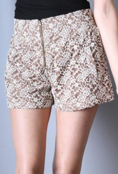 Shorts - Florentine Terrace Zippered Lace Cappuccino Shorts