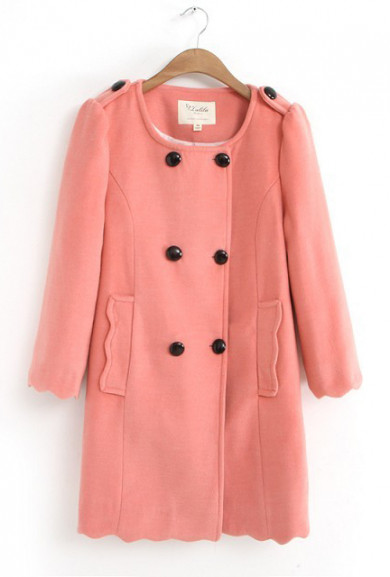 Coat - Guest of Honor 3/4 Sleeve Scalloped Hem Peacoat in Coral Pink