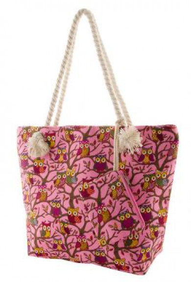Tote - In Cahoots Owl Print Oversize Pink Canvas Tote
