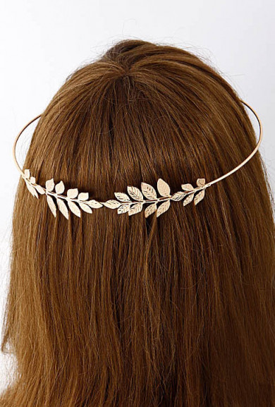 Head Piece - Royal Foliage Laurel Leaf Head Piece in Gold