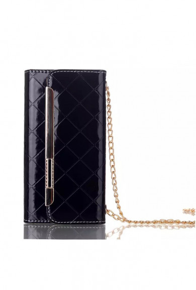 Wristlet - Boss Lady Lattice Crossbody iPhone 6 Plus Wallet Black Wristlet