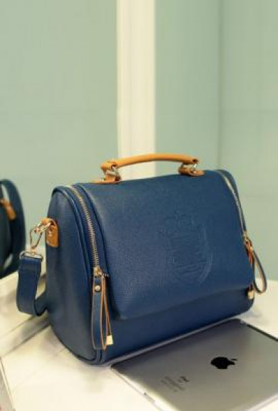 Handbag - Urban Monarchy Vintage Crested Royal Blue Handbag