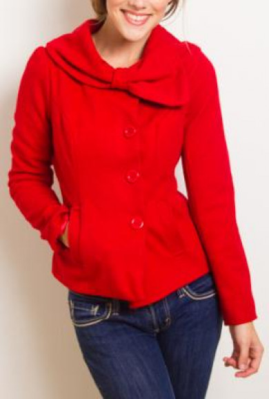 Coat - Accidentally in Love Bow Collared Coat in Passionate Red