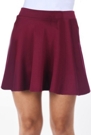 Skirt - Adolescent Culture Solid Skater Skirt in Maroon