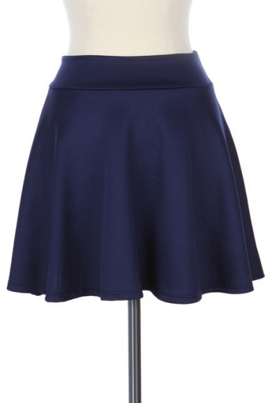 Skirt - Adolescent Culture Solid Skater Skirt in Navy