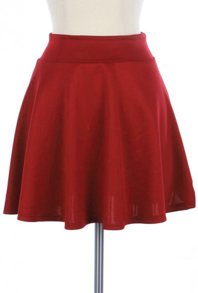 Skirt - Adolescent Culture Solid Skater Skirt in Red