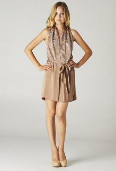 Dress - After Party Mingle Rhinestone Studded Draped Cocktail Dress in Champagne